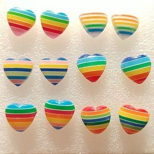 🌈💗 Set of 6 Rainbow Hearts Stripe Stud Earrings